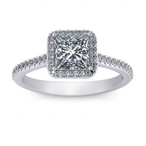 Princess Halo Engagement Ring - white gold