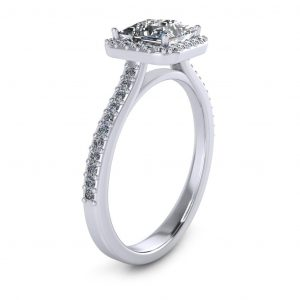 Princess Halo Engagement Ring - side view