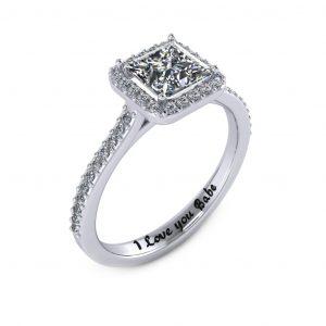 Princess Halo Engagement Ring - engraved