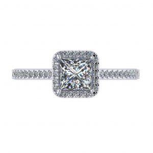 Princess Halo Engagement Ring - top view