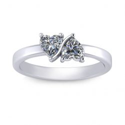 Twin Hearts Ring - white gold