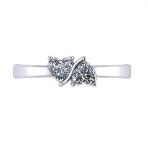 Twin Hearts Ring - top view