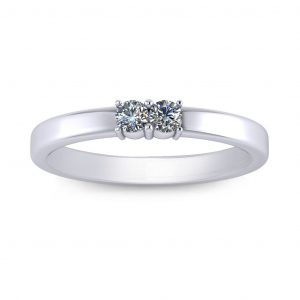 Twin Birthstone Ring - white gold