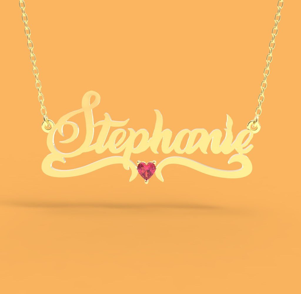 Name Necklace with heart stone