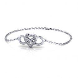 Infinity Heart Bracelet - white gold