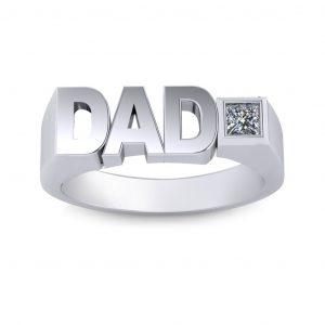 Dad Birthstone Men's Ring - white gold