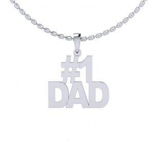 """#1 """"Dad"""" Pendant, Father's Day Special - white gold"""