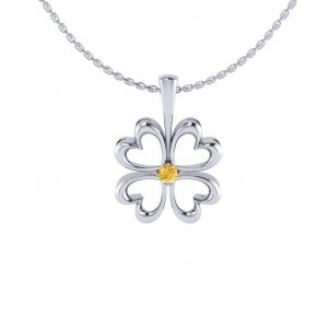Lucky Flower Pendant with Birthstone - white gold