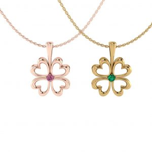 Lucky Flower Pendant with Birthstone