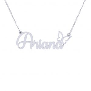 Butterfly Dream Personalized Namenecklace - white gold