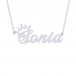 Personalized Crown Namenecklace - white gold