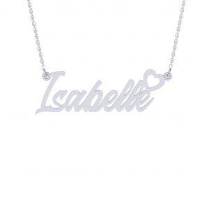 Heart Love Namenecklace - white gold