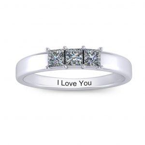 Princess-cut Engravable Multi Stone Ring (3-7 stones) - 3 stones