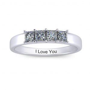 Princess-cut Engravable Multi Stone Ring (3-7 stones) - 4 stones