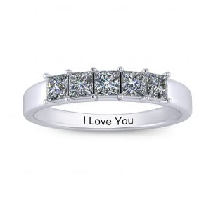 Princess-cut Engravable Multi Stone Ring (3-7 stones) - 5 stones
