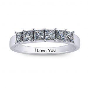 Princess-cut Engravable Multi Stone Ring (3-7 stones) - 6 stones