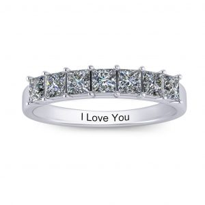 Princess-cut Engravable Multi Stone Ring (3-7 stones) - 7 stones