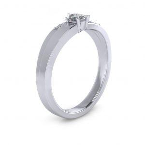 Princess-cut Engravable Birthstone Ring - side view