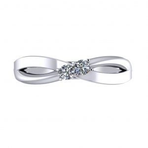 Round stone Engravable Birthstone Ring - top view