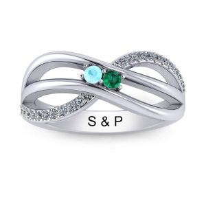 Bypass Birthstone Ring (3-7 stones) - white gold