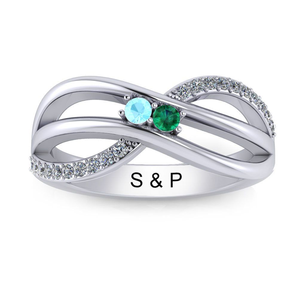 Bypass Birthstone Ring (3-7 stones)